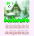 calendar grid 2018 with space for photo week vector image