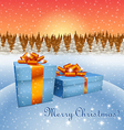 Christmas gift boxes and winter forest vector image