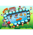Game template with children and sports background vector image