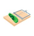 Money in a mousetrap icon cartoon style vector image