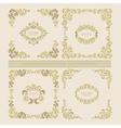 set decorative floral elements frame vector image