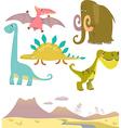 Set of cartoon dinosaurs vector image