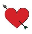 cartoon red heart with arrow love symbol vector image