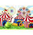 A carnival with a green three-eyed monster vector image vector image