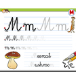 learn to write letter m vector image