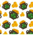 cauldron gold coins and clovers st patricks vector image