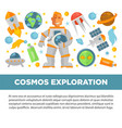 cosmos exploration promotional poster with vector image