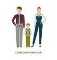 couple with one child cartoon vector image
