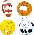funny sport ball cartoon isolated - vector image