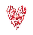 Happy Valentines Day lettering card Heart shape vector image