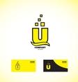 Letter U bold yellow logo icon vector image