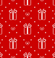 Red seamless pattern with gift and hearts vector image