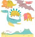 Set of cartoon dinosaurs vector image vector image
