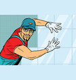 worker builder puts tile vector image
