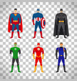 superhero costumes set on transparent background vector image