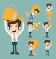 Set of businessman with a golden cup vector image
