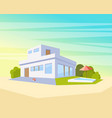 flat style modern architecture house with pool and vector image