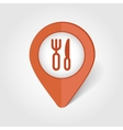 Fork and Knife map pin icon vector image