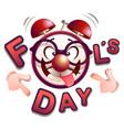 fun clock fools day vector image