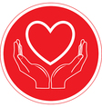 heart and hands icon vector image