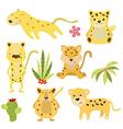 Set funny leopards vector image