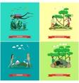 set of summer outdoor activities concept vector image vector image