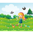 A girl surrounded by many birds vector image