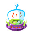 flattened flushed green alien cute cartoon vector image