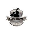 metal shield baseball logo vector image
