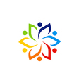circle people group leaf colorful logo vector image