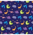 Colorful Dinosaurs Rows Seamless Pattern vector image