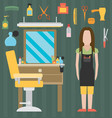 flat barbershop interior and equipment icons vector image