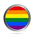 Gay flag metal button vector image