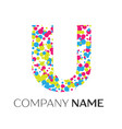 letter u logo with blue yellow red particles vector image