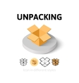 Unpacking icon in different style vector image