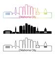 Oklahoma City skyline linear style with rainbow vector image