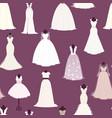 wedding bride dress seamless pattern vector image