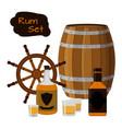 rum set alcohol helm barrel shots rum bottle flat vector image