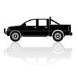 Pickup truck silhouette icon vector image