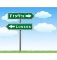 road sign profits losses vector image vector image