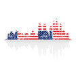 city skyline in colors of usa flag vector image