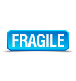 Fragile blue 3d realistic square isolated button vector image