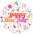 Happy New Year Text with Party Icons vector image