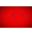 Valentines background simple two hearts vector image