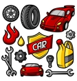 Set of car repair service objects and items vector image
