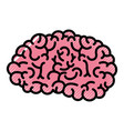 brain side view in colored crayon silhouette with vector image