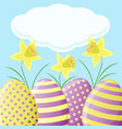 easter card with daffodils and eggs vector image