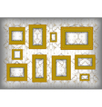 Golden frames on ornamental background vector image