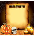 Halloween paper with pumpkin skull and candles vector image