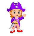 kids girl pirate cartoon vector image